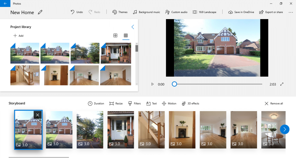 Add pictures to storyboard